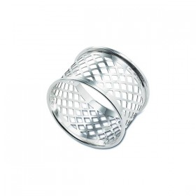 Hallmarked Silver Basket Weave Napkin Ring 30mm