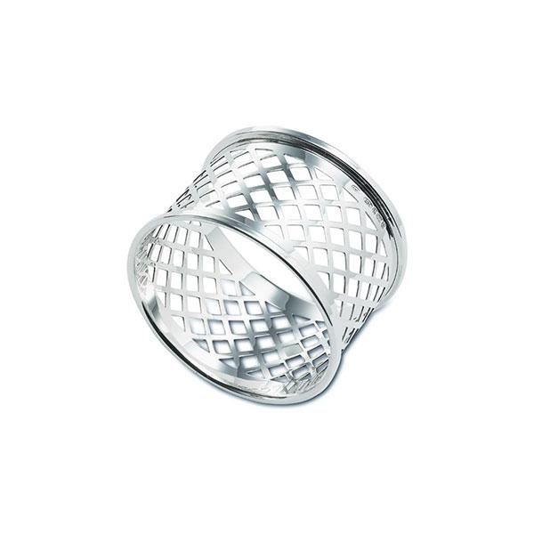 Hallmarked Silver Basket Weave Napkin Ring 30mm